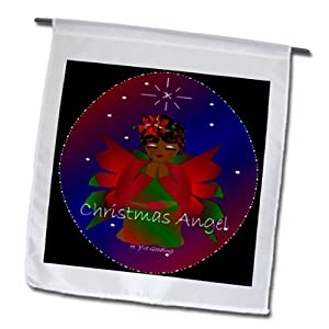 3dRose fl_6947_1 African-American Christmas Angel Baby Girl Praying with Christmas Angel Text Garden Flag, 12 by 18-Inch