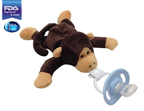 CuddlesMe Pacifier with Detachable Plush Monkey - Made from 100% BPA, Latex, and Phthalate Free Silicone - FDA Listed Medical Device - For Boys and Girls 6 Months and Up