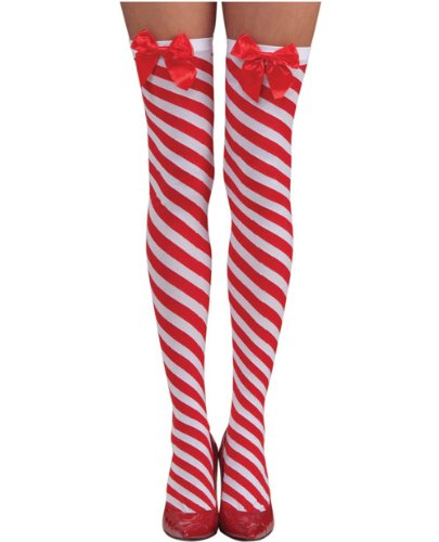 Costume Adventure Women's Christmas Candy Cane Striped Thigh High Stockings