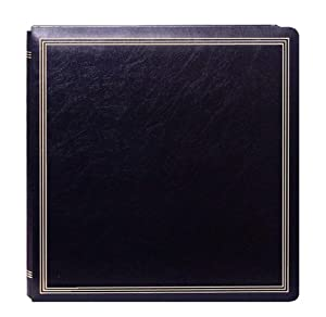 Pioneer 11 3/8-Inch by 11 3/4-Inch Postbound Deluxe Boxed Leatherette Magnetic Album, Black