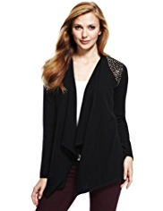 M&S Collection Pure Cashmere Stud Embellished Waterfall Cardigan