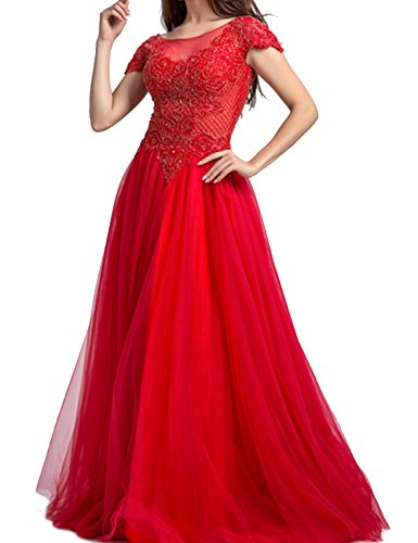 LucysProm Women's Prom Dresses Short Sleeves A Line Tulle Beaded Evening Dresses Size 2 US Red