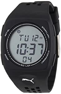 Puma Faas 300 Unisex Digital Watch with LCD Dial Digital Display and Black Plastic or PU Strap PU910991002