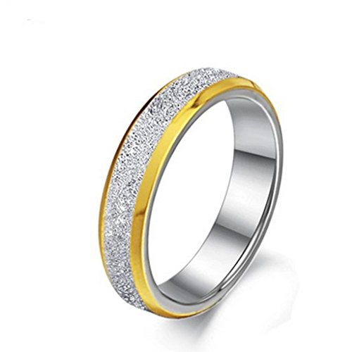 Alimab Jewelery Stainless Steel His Or Hers Rings Bands Frosted Dull Golden Size 9
