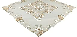 Xia Home Fashions 36 by 36-Inch Autumn Forest Cutwork Embroidered Fall Table Topper