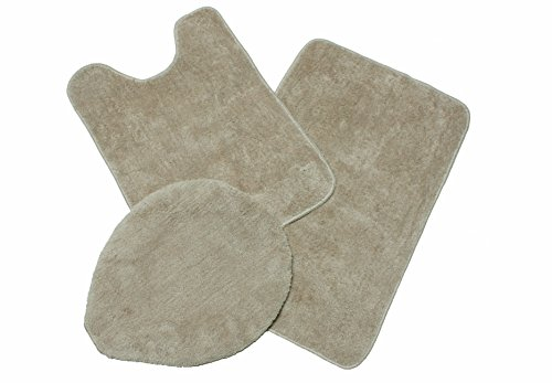 J & M Home Fashions 3-Piece Microfiber Bath Rug Set, Linen