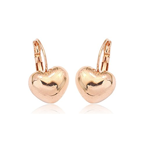Simple Smooth Heart Leverback Earrings Fashion Jewelry For Women (Gold Plated)