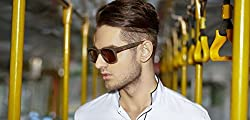 John Jacobs Jj 4417 Black Wooden Brown c2 Wayfarer Sunglasses