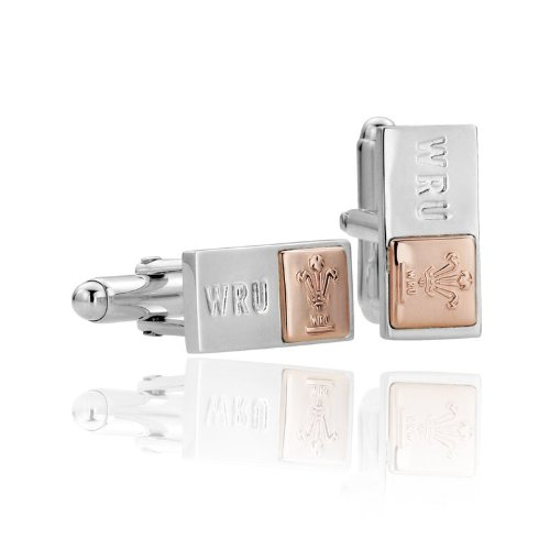 Clogau Gold Sterling Silver Welsh Rugby Union Cufflinks with 9ct Rose Gold Detailing