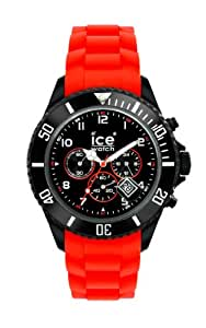 ICE-Watch - Montre Mixte - Quartz Analogique - Ice-Chrono - Black red - Big - Cadran Noir - Bracelet Silicone Rouge - CH.BR.B.S.10