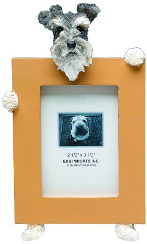 Schnauzer, Uncropped Picture Frame Holds Your Favorite 2.5 by 3.5 Inch Photo, Hand Painted Realistic Looking French Bulldog Stands 6 Inches Tall Holding Beautifully Crafted Frame, Unique and Special Schnauzer Gifts for Schnauzer Owners