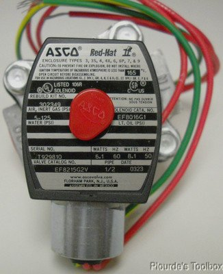 "ASCO Red-Hat 2 Way NC 1/2"" npt Solenoid Valve, 120/60, EF8215G2V"