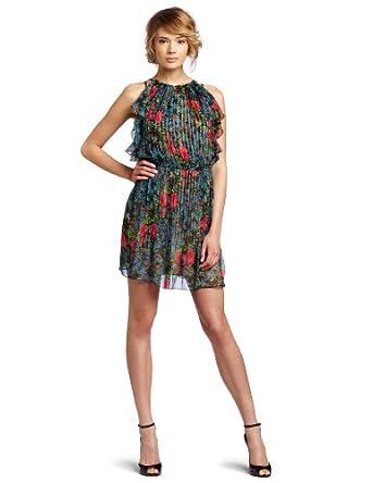 Tracy Reese Women's Pintucked Blouson Dress, Field Flow, Petite