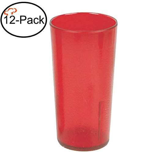 Tiger Chef 16-Ounce, 12-Pack Red Stackable Restaurant Beverage Cup Break-Resistant Plastic Tumbler Set, BPA-Free