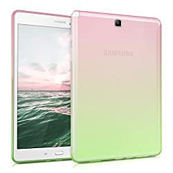 kwmobile Crystal case for Samsung Galaxy Tab A 9.7 T550N / T555N TPU silicon case tablet protective case cover with Design two colours in dark pink green transparent