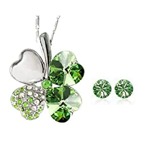 Wrapables 18K Gold Plated Swarovski Elements Crystal Heart Shaped Four Leaf Clover Pendant Necklace and Stud Earrings Jewelry Set (Peridot Green)