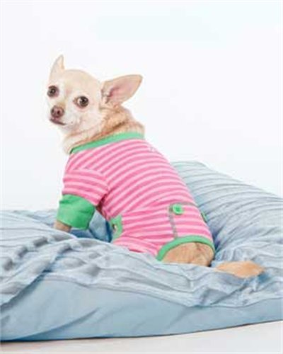 Fashion Pet Pink And Green Striped Pj'S, Extra Small
