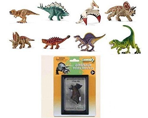 Schleich Prehistoric Set of Eight (8) Miniature Dinosaurs, including T-Rex and CollectA T-Rex First Toe Fossile Replica (89280) Bagged Together Ready to Give