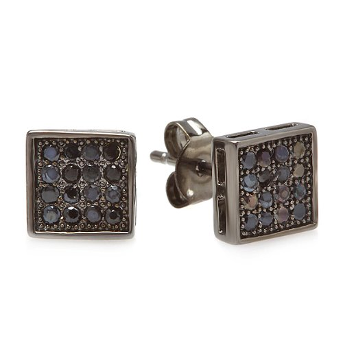 Black Rhodium Plated Stud Earrings Cube Shaped Black Round Cubic Zirconia Iced Pushback Post (7 MM x 7 MM)