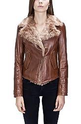United Face Womens Fur Lined Leather Biker Jacket