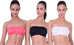 PIFTIF seamless non padded non wire strapless bandeau full side covrage tube bra for women's and girl s fit size ( 28 in to 36 in) WHITE GAJRI BLACK