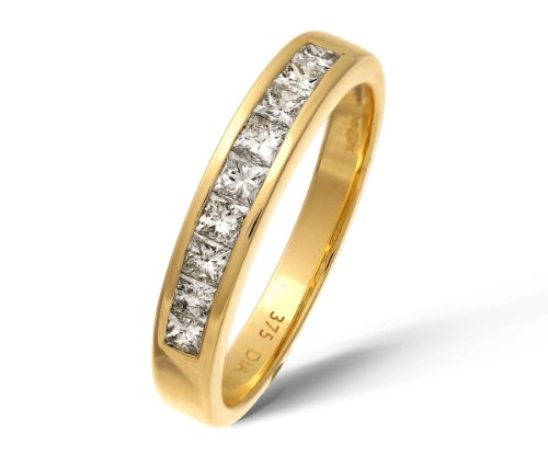 9ct Yellow Gold 0.50ct Princess Cut Diamond Channel Set Half Eternity Ring