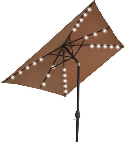 39 x6 5 39 outdoor solar 26 led lights aluminium patio umbrella rectangle. Black Bedroom Furniture Sets. Home Design Ideas