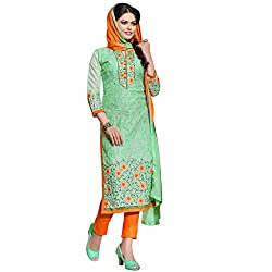 Pari Presents Green Coloured Dress Material