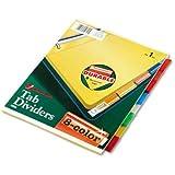 Wilson Jones Insertable Binder Tab Dividers, 8 Tab Multicolor (W54311A) - 6 packs of 8 sets