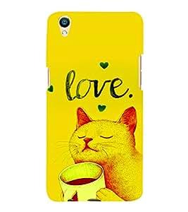 PrintVisa Cute Cartoon Kitty Romantic Love 3D Hard Polycarbonate Designer Back Case Cover for Oppo F1 Plus