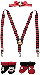 Disney Boys\' Mickey Suspender/Bowtie Set and 2 Pk Booties, Red/Black, Infant