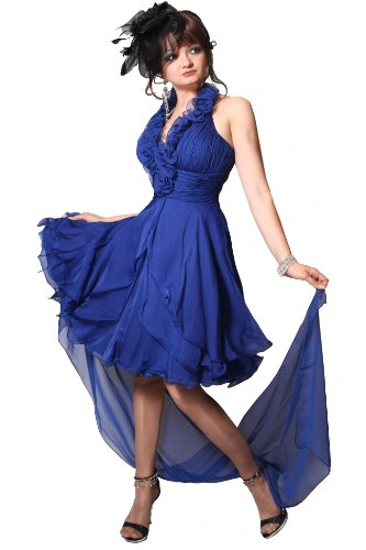 Kleid Dress Damen Abendkleid Neckholder Kurz Partykleid Cocktailkleid Brautkleid Hochzeitskleid Ballkleid Festkleid Knielang div. Farben Größen Juju & Christine (38, Blau)