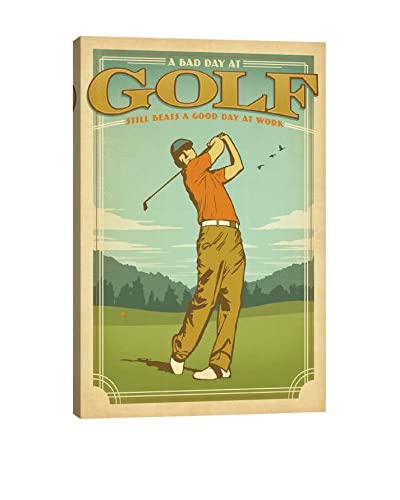 iCanvas Art Man Cave Collection Bad Day At Golf Vs. Good Day At Work By Anderson Design Group Canvas...