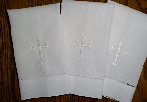 White Linen Baptism Cloth with White Cross (3 Pack)