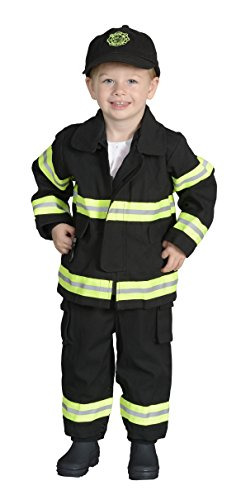 Aeromax Jr. CHICAGO Fire Fighter Suit, Black, 18 Months.  The best #1 Award Winning firefighter suit.  The most realistic bunker gear for kids everywhere.  Just like the real gear! (Firefighter Gear For Kids compare prices)