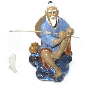 Fisherman - Glazed Chinese Clay Ornament - 10cm Average