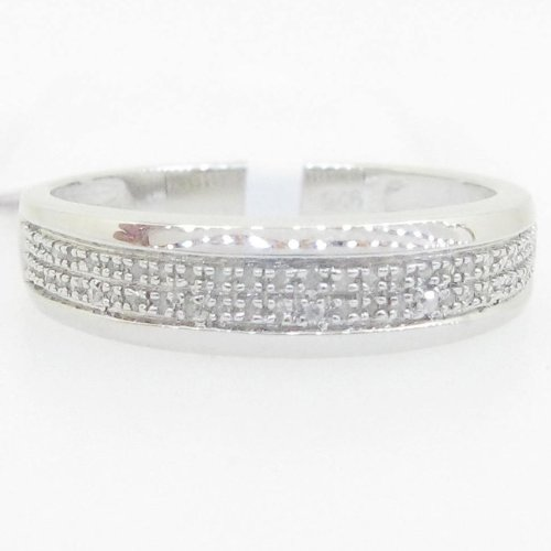 IcedTime Ladies 925 Sterling Silver 0.23 round diamond ring band pinky fashion brilliant two row band ring at Sears.com