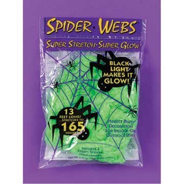 Spider Webs 13 Feet Stretchy Glow in the Dark Green for Halloween by DLUX - 1