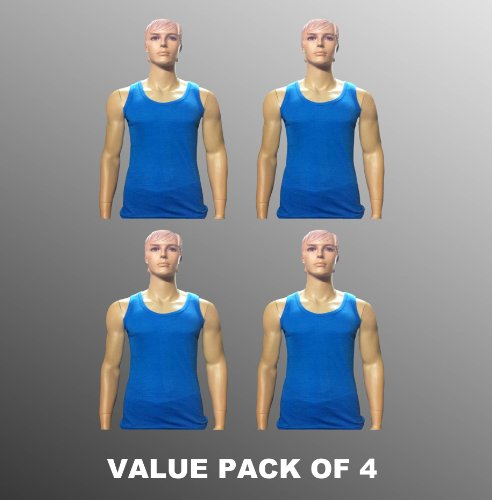 Value Pack Of 4 Thermal Underwear Sleeveless Vest Blue, Various Sizes