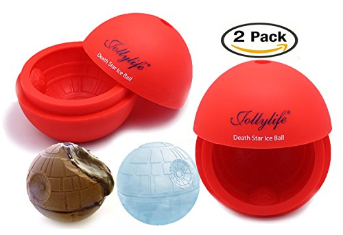 Jollylife Silicone Sphere Mold Ice Chocolate Cube Tray Ball for Star Wars Lovers or Party Theme 2pcs (Red)