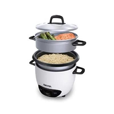 Aroma 3 cup pot style rice cooker / Non stick inner pot / external steam tray / White ARC-743-1NG from Aroma