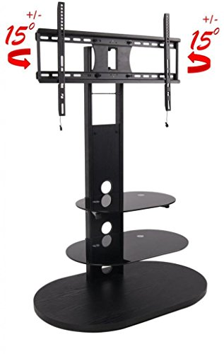 2Xhome - Tv Stand With Shelves - Tempered Glass Shelf Shelving System Combo Unit Rack Tower Base Black Two (2) Tier Double Tinted Smoke Colored Glass Coloured Color - Integrated Low Profile Tv Mount Mounted Mounting Bracket Led Lcd Flat Screen Panel Smart