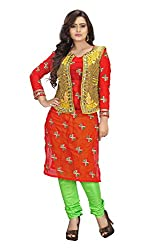 Priyanshu Creation Women's Georgette Red Dress Material