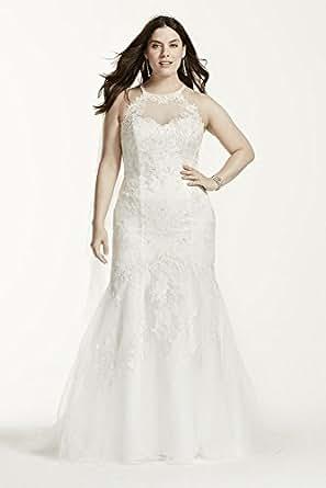 Jewel illusion halter lace plus size wedding dress style for Jewelry for halter wedding dress