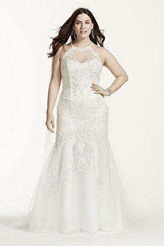 Jewel Illusion Halter Lace Plus Size Wedding Dress Style 9WG3735, Soft White,...