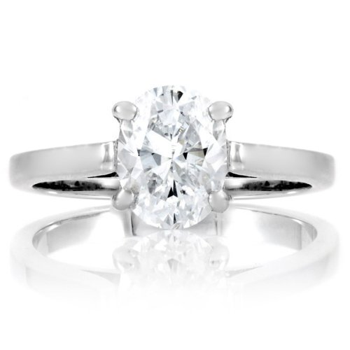 Sonia's Signity CZ Engagement Ring - 1 CT Oval Cut .925 sterling silver jewelry Rhodium Electroplated Boxed Free Shipping Size 6