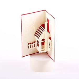 besondere 3d grusskarte haus im gr nen zum einzug umzug. Black Bedroom Furniture Sets. Home Design Ideas