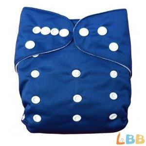Baby Washable Reusable Cloth Pocket Diaper With Adjustable Snap, Dark Blue