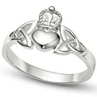 Nickel Free Sterling Silver Irish Claddagh Friendship and Love Band Celtic Ring w/ Trinity Symbols from Metal Factory