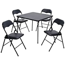 5-Piece,Black Frame and Fritz Fabric Upholstery, Folding Table and Chair Set